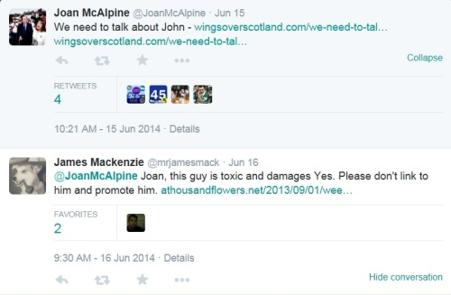 McAlpine actively promoted the McTernan attack piece was a classic Tu Quoque response in order to defend Nationalist nastiness.
